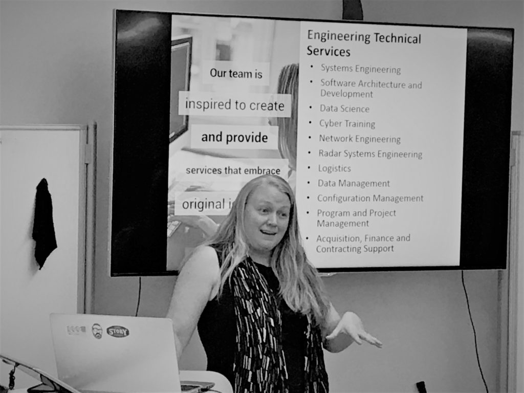 Sara Kinney presenting at Women Who Startup Basecamp Colorado Springs